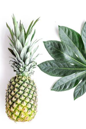 Tropische vruchten achtergrond. Pinneapple op witte hoogste mening