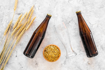 Preparing beer. Barley near beer bottle and glass on grey background top view.