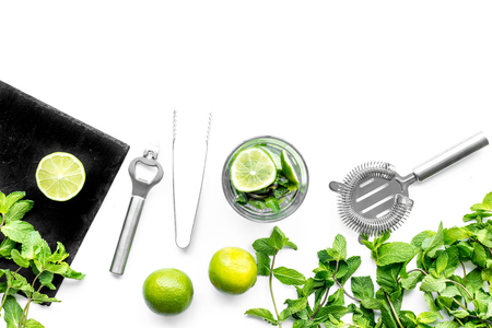 Make mojito cocktail with lime and peppermint. White background top view copyspace