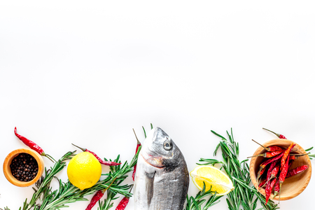 Preparing dorado with spices rosemary, pepper, chili, lemon. White background top view copyspace
