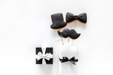 men backgroung white background for wedding top view mock Stock Photo
