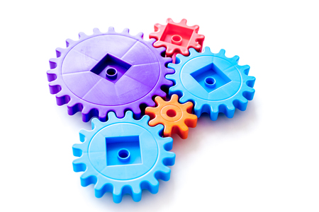 bright gears for great technology of team work and correct mechanism on white background