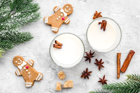 Eggnog, gingerbread cookie with cinnamon and spruce for new year 2018 celebraton winter set. stone desk background top view Stock Photo