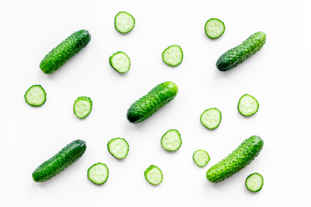 Fresh cucumbers pattern on white background top view Stock Photo