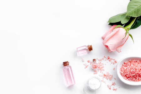 Natural cosmetic with rose oil on white background top view copyspace Stock Photo