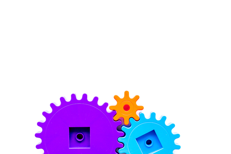 bright gears for great technology of team work and correct mechanism on white background top view copyspace Stock Photo