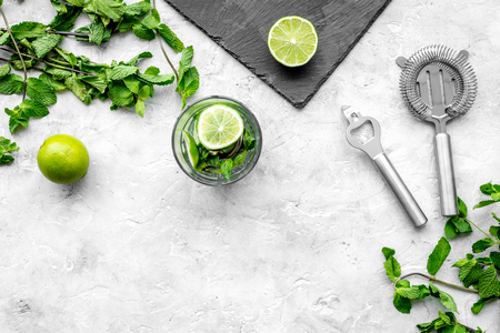 In the bar. Shake mojito. Lime, mint., barman tools on grey background top view copyspace Stock Photo