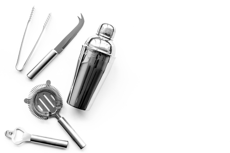 Barman equipment. Shaker, strainer on white background top view. Stock fotó