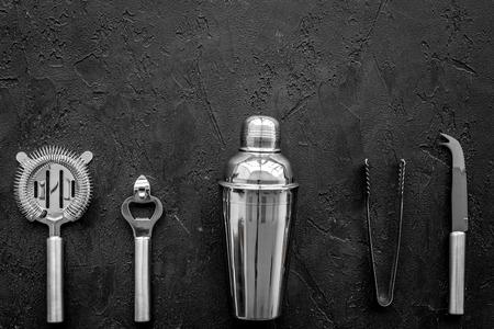Instruments bartender on black background top view. Stock fotó