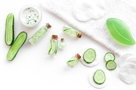 Sliced cucumber for face mask on white background top view. Stock Photo