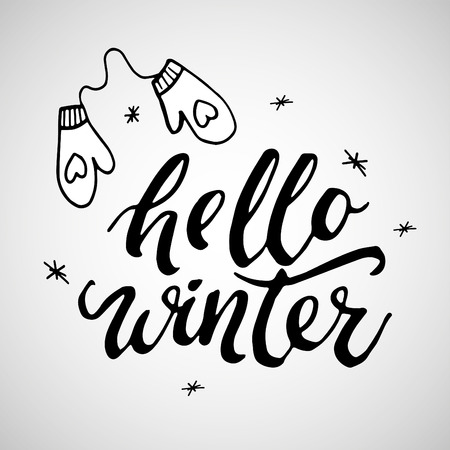 Hello Winter handlettering inscription. Winter logos and emblems for invitation, greeting card, t-shirt, prints and posters. Hand drawn winter inspiration phrase. Vector illustration.
