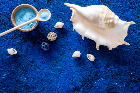 Sea salt from dead sea and shell in cosmetics set for spa on blue background top view copyspace