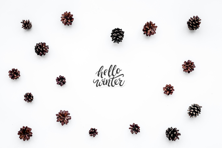 Hello Winter hand lettering. Winter pattern pinecones on white background top view