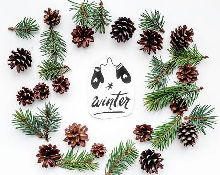 冬の手レタリング、ミトンを塗装します。スプルースの枝と白い背景上面にコーン冬パターン