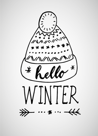 Greeting card with phrase Hello Winter. Vector isolated illustration: brush calligraphy, hand lettering. Inspirational typography poster. For calendar, postcard, label and decor Reklamní fotografie