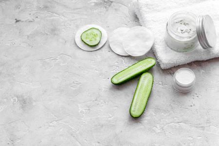 Natural cucumber cream on white copyspace