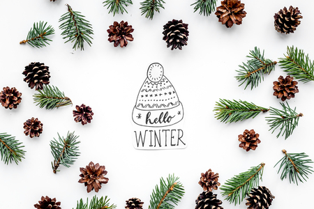 Hello Winter hand lettering with hat. Winter pattern with spruce branch and cones on white background top view