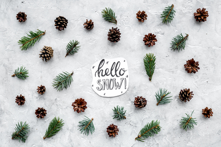 Hello, snow hand lettering. Winter pattern with spruce branch and cones on grey top view Imagens - 88942989