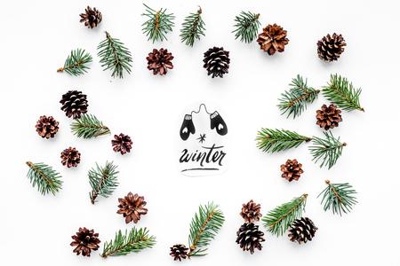 Winterhand belettering en geschilderde wanten. Winter patroon met vuren tak en kegels op witte bovenaanzicht Stockfoto