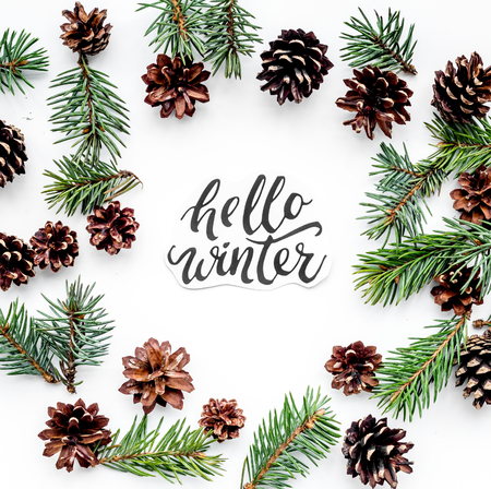 Hello Winter hand lettering. Winter pattern with spruce branch and cones on white top view