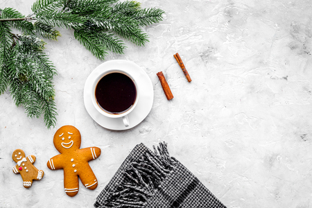 Coffee with gingerbread cookies on Christmas evening. Cup near spruce branch on grey wooden top view copyspace