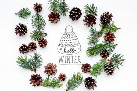 Hello Winter hand lettering with hat. Winter pattern with spruce branch and cones on white top view