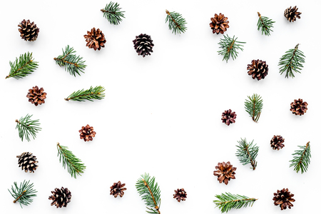 Winter pattern with spruce branch and pinecones on white background top view copyspace Imagens