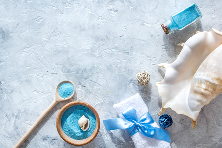Sea salt from dead sea and shell in cosmetics set for spa on gray background top view copyspace Stock Photo