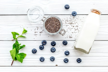 Eat chia seeds for breakfast with yogurt, blueberry and mint