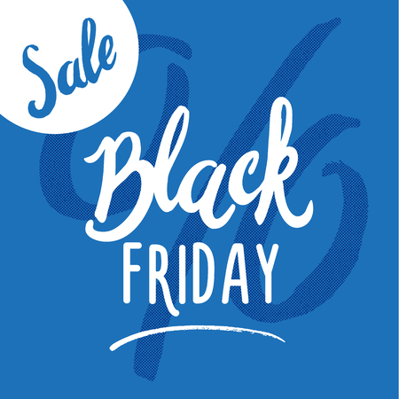 Black Friday Sale handmade lettering, calligraphy on blue background for logo, banners, labels, prints, posters. Vector illustration Stock Photo