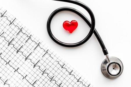 Examine the heart to prevent heart disease. Heart sign, cardiogram, stethoscope on white background top view