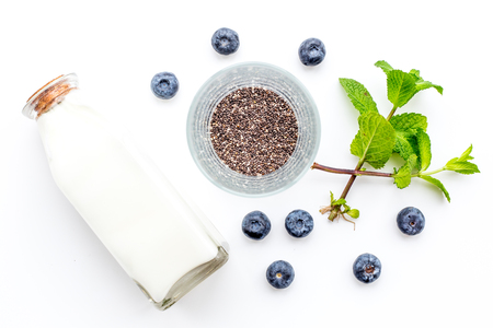 Eat chia seeds for breakfast with yogurt, blueberry and mint. White background top view