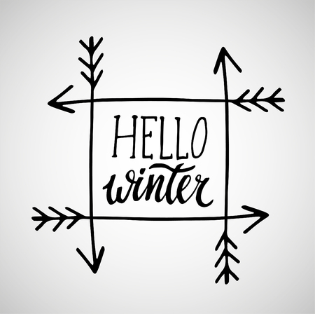 Hello winter handlettering inscription winter logos and emblems 89977906 greeting card with phrase hello winter vector isolated illustration brush calligraphy hand lettering inspirational typography poster m4hsunfo