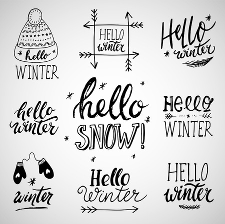Winter phrases: set of vector illustrations with hand lettering. Hand written ink quotes isolated on white background - modern brush pen calligraphy.