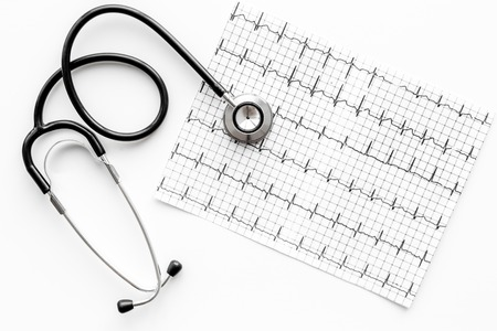 Examine the heart to prevent heart disease. Stethoscope and cardiogram on white background top view Stock Photo