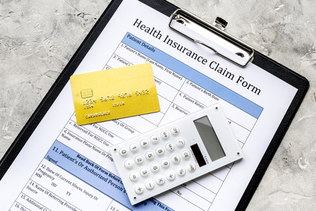 Buy health insurance. Document, bank card and calculator on grey background top view.