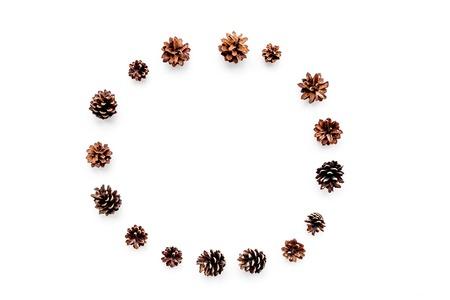 Winter patroon. Ronde van pinecones op witte achtergrond bovenaanzicht.