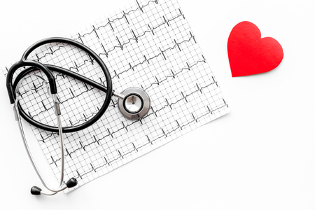 Examine the heart to prevent heart disease. Heart sign, cardiogram, stethoscope on white background top view copyspace