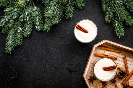 Homemade classic eggnog with cinamon and badian on wooden tray near spruce branch, pinecones on black background top view copyspace