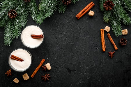 Homemade classic eggnog with cinamon and badian near spruce branch, pinecones on black background top view copyspace