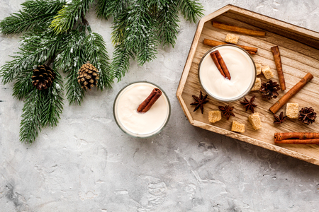 Homemade classic eggnog with cinamon and badian on wooden tray near spruce branch, pinecones on grey stone background top view copyspace