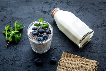 Light dessert with chia seeds, yogurt, blueberry and mint. Black background