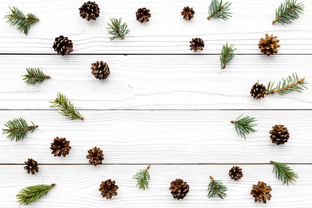 Winter pattern. Pinecones and spruce branches on white background top view copyspace