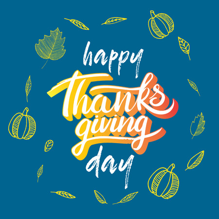 Vector thanksgiving day greeting lettering phrase. Happy thanksgiving with round frame of autumn leaves, pumpkin on blue blackboard.
