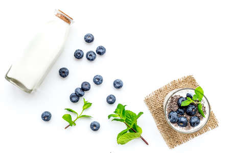 Eat chia seeds for breakfast with yogurt, blueberry and mint. White background top view copyspace