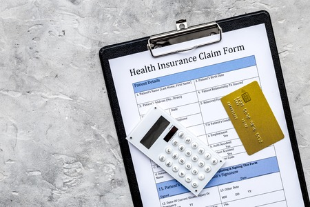 Buy health insurance. Document, bank card and calculator on grey background top view copyspace