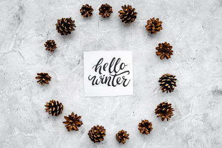 Hello winter hand lettering. Winter pattern with pinecones on grey background top view Zdjęcie Seryjne