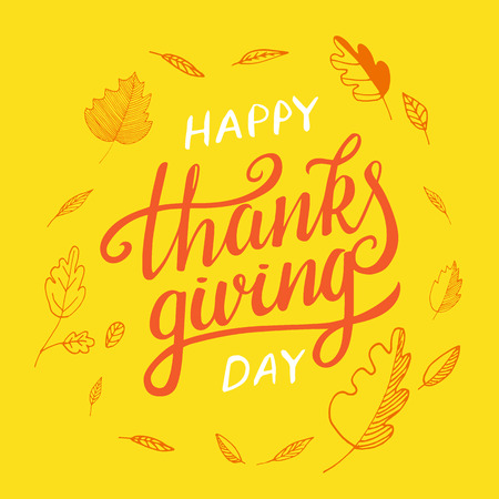 Vector thanksgiving day greeting lettering phrase. Happy thanksgiving with round frame of autumn leaves, pumpkin on yellow blackboard.