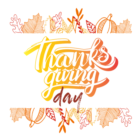 Vector thanksgiving day greeting lettering phrase. Happy thanksgiving with round frame of autumn leaves, pumpkin on white blackboard. Illustration