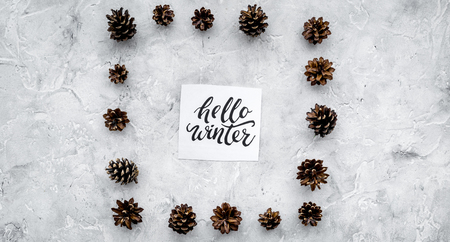 Hello winter hand lettering. Winter pattern with pinecones on grey background top view Imagens